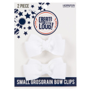 Create Out Loud Hair Bow Barrette Set in White Grosgrain
