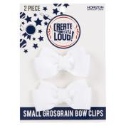 Create Out Loud Hair Bow Barrette Set in White Grosgrain