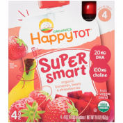 Happy Tot® Organics Super Smart™ Organic Bananas, Beets & Strawberries Fruit & Veggie Blend 4-120ml Pouches