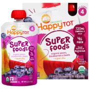 Happy Tot® Superfoods Organic Pears, Blueberries & Beets + Super Chia Fruit & Veggie Blend 4-120ml Pouches