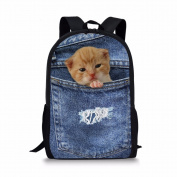 ThiKin 3D Printed Dog Animal Backpack for Teen Boys School Trips Daypack Lightweight 28(L) x 44cm (H) x 13cm