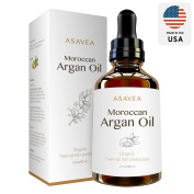 AsaVea 100% Pure Organic Moroccan Argan Oil Thermal hair protectant, USDA Certified Organic for Hair, Skin, beard & Nails Made in USA