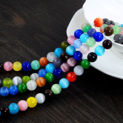 YUEAON 100PCS 8mm natural Gemstone Beads round Cat's Eye loose stone beads for jewellery making diy bracelets neckalce wholesale-bulk lots-30 inches strand-colourful-polished