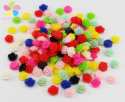 50pcs/lot 10mm Random mixed colours Flat Base Resin Flower Jewellery Beads DIY Finding Accessory