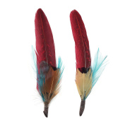 Zucker Feather Products Feather Hat Trims, Dark Aqua/Tango Red/Natural