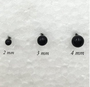 OTRMAX 300-Piece 2/3/4mm Artificial Glass Eyes Kits, Mini Black Beans Needle Type Eyes Ball for Puppets Dolls Crafts DIY Accessories