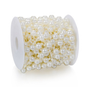 Heirtronic 27m Ivory Faux Pearls Crystal Beads By the Roll for Garland Flowers Wedding Party Home Decoration & DIY Flower accessories or Hair band
