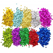 Shappy Loose Sequins Bulk Cup Sequin Iridescent Spangles for DIY Arts Crafts Making, 10 Colours, 6 mm, 100 Gramme