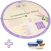 Aromatherapy Chart Wheel plus Quality Aluminium and Glass Essential Oil Inhaler with Wick Bundle