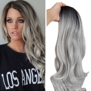 Panda Hair Long Synthetic Cosplay Party Wig Curly Long Black to Grey Fashion Wig