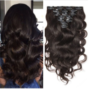 Moresoo 25cm Body Wave Clip on Hair Extensions Human Hair Thick to End Full Head Set 7 Pieces Set 120g Dark Brown Colour Human Hair Extensions Clip in/on