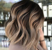 Full Shine 20cm Short Wavy Hair Wig Front Lace Bob Wig For Women Colour Off Black Fading to Colour #18 Ash Blonde Ombre Balayage 100 Human Wig Hair With Baby Hair Grade 7A Brazilian Remy Human Hair