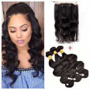 DreamWorld 9A Grade 360 Lace Frontal Closure with 3 Bundles Malaysian Body Wave Virgin Hair Bundles with 360 Lace Frontal