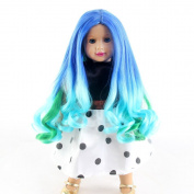 STfantasy Doll Wig American Girl Barbie Baby Doll 41cm Long Curly Ombre Multicolor Lolita Harajuku Heat Resistant Synthetic Hair for 46cm Doll
