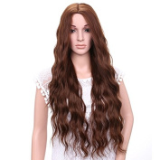 AisiBeauty Natural Synthetic Brown Wavy Wigs Long Wavy Wig Heat Resistant Fibre Hair Long Curly Wavy Full Wigs for Black Women