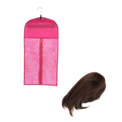 MagiDeal Women Fashion Natural Medium Straight Wig Bob Wigs Brown +Dustproof Wig Storage Bag Protector Hanger Pink