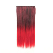 Mcoser 60cm 1-pack 3/4 Full Head Curly Wave Clips in on Synthetic Hair Extensions Hair pieces for Women 5 Clips .Red.
