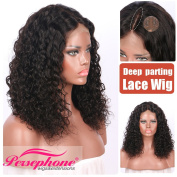 Persephone Brazilian Short Curly Human Hair Wigs for African American Women -9.7cm Middle Deep Part Human Bob Wigs with Baby Hair 130 Density 25cm Natural Colour
