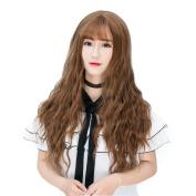 Max beauty Daily Lolita Girls Long Curly Wave Wigs Air Bangs Hair Free Caps Wig