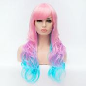 Max beauty Cosplay Anime Wig Long Curly Wave Multi-coloured Women Wigs Hair Free Cap