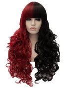 Max beauty Cosplay Wig Multi-colour Ombre Long Fluffy Curly Wave Women Wigs Hair Free Cap