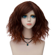 35cm Bob Curly Lolita Wig Brown Ombre Hair Side Bangs Cosplay Costume Wig F1B +Wig Cap
