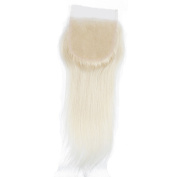 #613 Blonde Lace Closure Straight Virgin Human Hair 4X4 Size Free Part