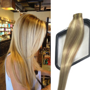 Mario Hair Tape in Hair Extensions with Blonde Highlights Human Hair Extensions Silky Straight Skin Weft Human Remy Hair