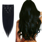 FIRSTLIKE Clip in Human Hair Extensions Straight Full Head 10-60cm 8 Pieces 18 Clips