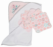 Little Beginnings Owl Print Hooded Towel and Washcloths Gift Set, Pink