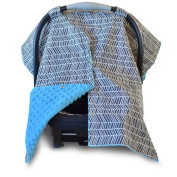 2 in 1 Carseat Canopy Cover and Nursing Cover- Large Herringbone Print with Blue Minky | Best Infant Carrier Canopy, Boy or Girl | All Weather Car Seat Cover | Baby Shower Gift for Breastfeeding Moms