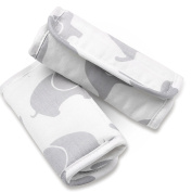Grey Elephant Car Seat and Stroller Strap Covers by The Peanut Shell
