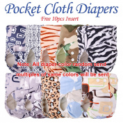 10pcs+10 INSERTS Adjustable Reusable Lot Baby Washable Cloth Nappy Nappies (minky boy colour