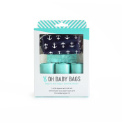 Oh Baby Bags Nappy Bag Clip-On Dispenser Gift Box with Disposable Bags for Dirty Nappies - Recycled Plastic - Navy with White Anchors Duffle plus 48 Seaspray Scented Bags