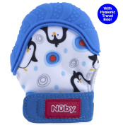 Nuby Happy Hands Soothing Teething Mitten with Hygienic Travel Bag, Blue Penguins