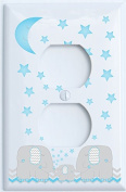 Blue Elephant Outlet Switch Plate Covers with Blue Moon and Stars / Elephant Nursery Decor with Grey and Blue Chevrons.