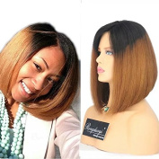 Rongduoyi Ombre Two Tone Colour Brazilian Virgin Human Hair Lace Front Wig with Baby Hair Short Bob Straight Glueless Full Lace Wigs for Black Women 20cm - 41cm . 36cm full lace wig)