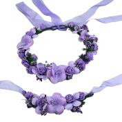 EUBUY Floral Crown Garland Adjustable Flower Garland Halo Hair Wreath Headband and Wrist Band Set for Women Girls