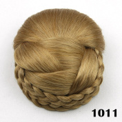 Decorous Ladies Braid Contracting Hair Bun Extension Chignon Hairpiece Wig, Best Gift for Mom