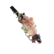 Hanabe Handmade Natural Mother of Pearl Nugget Crystal Glass Beaded Hair Pin Barrette Pink