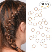 60pcs Gold Hair Rings for Pierced Braid & Dreadlock Decoration Hair Loop Clips Girl Jewellery Accessories For Girls Wemen Jump Rings By Sc0nni