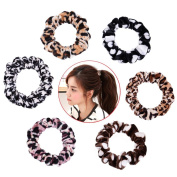 TS Leopard Cotton Hair Ties Womens Rubber Elastic Ponytail Holdes