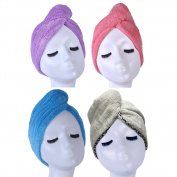 YYXR Microfiber Quick Drying Hair Towel Wrap - Super Absorbent Drastically Reduce Hair Drying Time(4-pack)