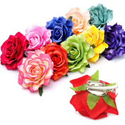 5 Pcs Women Bridal Multi-Function Rose Flower Hair Clip Hairpin Flower Brooch for Hair Accessories Wedding Party Accessorie Random Colour