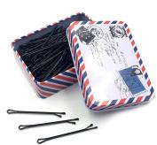 150PCS Black Bobby Pins with a Metal Box Hair Pins Bun Pins Hair Slides Grips Hair Accessory Perfect for Buns Up-Dos and More
