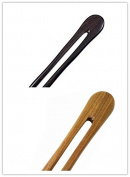 FINGER LOVE Handmade Carved Natural Wood 2 Prong Hair Stick Gift Box Set