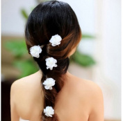 Camellia Flower and Pearl or Crystal Hair Pins - Set of 4