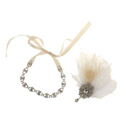 MagiDeal Vintage Crystal Rhinestone White Feather Headband 1920s Women Headpieces
