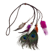Bohemia Indian Style Peacock Feather Headband Hair Band Feather Headpiece for Women Girls
