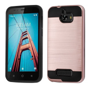 Coolpad Defiant Case, Mybat Dual Layer [Shock Absorbing] Protection Hybrid Brushed PC/TPU Rubber Case Cover For Coolpad Defiant, Rose Gold/Black